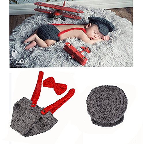 Yarra Modes Newborn Baby Boy Costume Crochet Outfits Photography Props Cap Beanie with Suspenders Bowtie Diaper (0- -