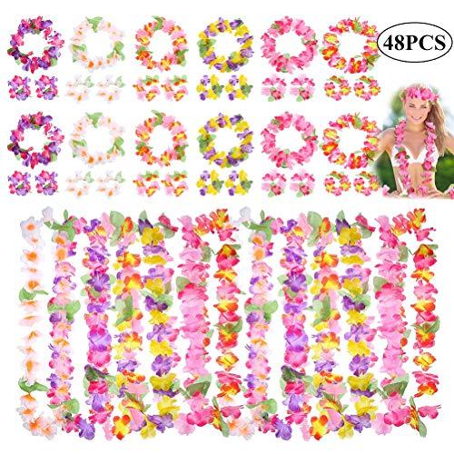 48 Pcs Hawaiian Leis Luau Party Supplies, Cooyeah Tropical Hawaiian Flower Necklace Hawaiian Leis Headband & Wristbands Floral Garland Bulk for Graduation Beach Pool]()