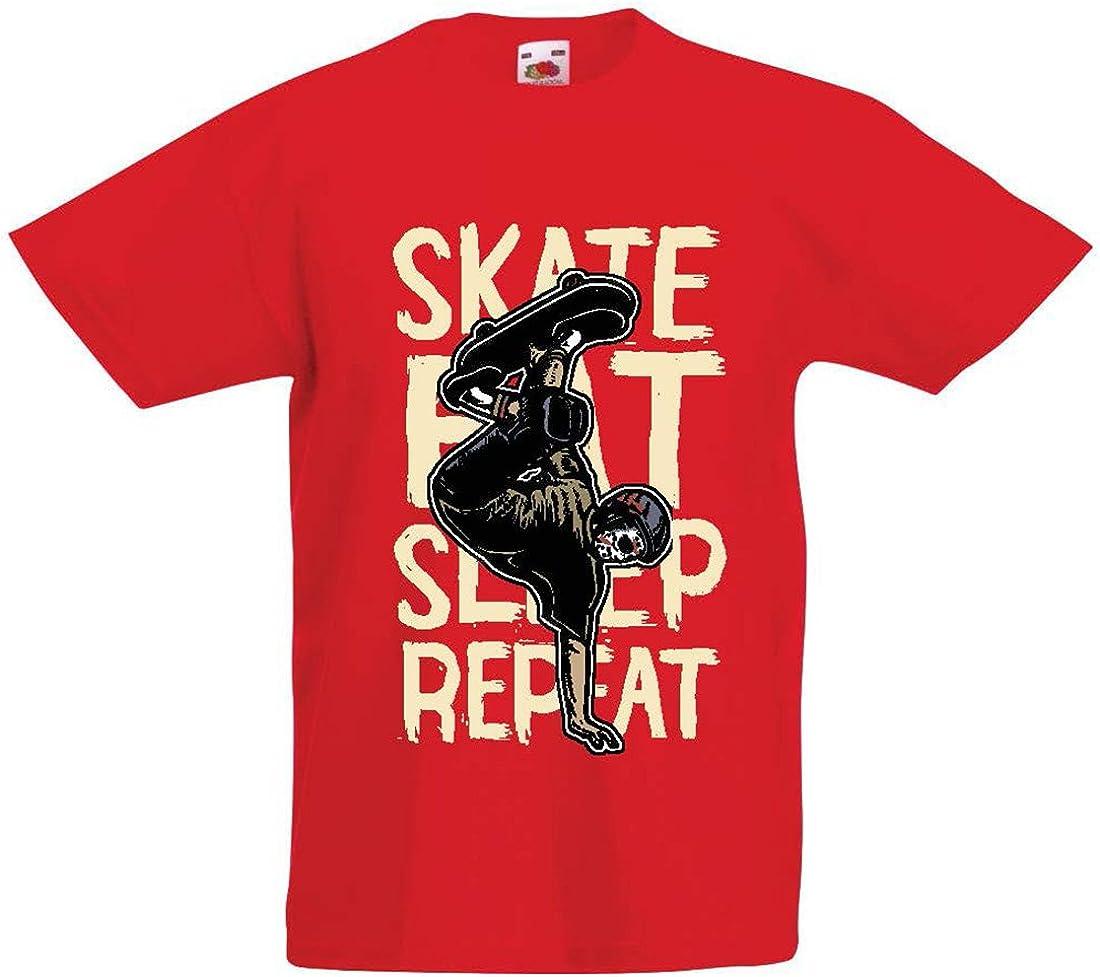 lepni.me Camiseta para Niño/Niña Eat-Sleep-Skate-Repeat para el Amante del monopatín, Regalos del Skater, Ropa Que anda en monopatín
