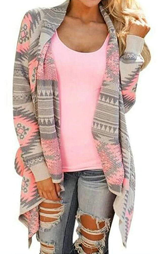 Myobe Women's Aztec Print Drape Open Front Drape Boyfriend Cardigan Sweaters