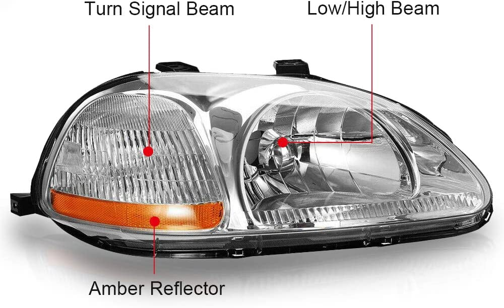 Headlight Headlamp Assembly Compatible with 1996 1997 1998 Honda Civic Halogen Style Black Housing Direct Replacement Driver and Passenger Side