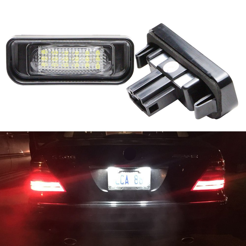 Benz Led License Plate Light Replacement - NSLUMO Xenon White Error Free LED Rear Tag Tail Light for Mercedes Benz W220 S320 S420 S430 99-05 S Class AMG Auto Light Assembly Newsun