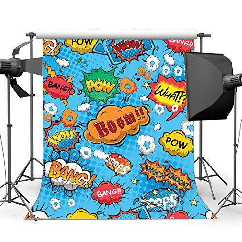 Gladbuy Vinyl 5X7FT Boom Backdrop What Bang Knock Wow Pow Twinkle Stars Backdrops Cartoon Photography Background for Boys Children Happy Birthday Party Decoration Wallpaper Photo Studio Props KX341
