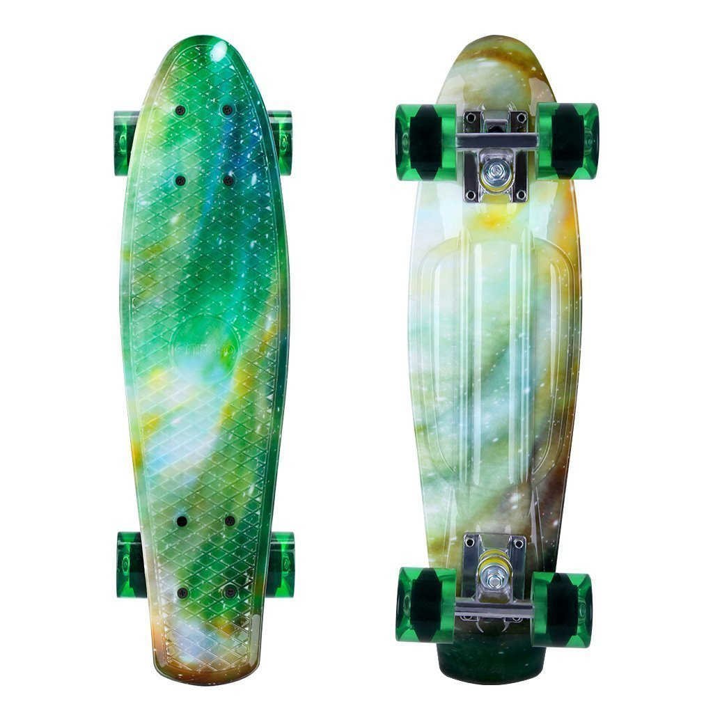 ENKEEO 22 Inch Cruiser Skateboard Complete Plastic Banana Board with Bendable Deck and Smooth PU Casters for Kids Boys Youths Beginners 220 Ibs.