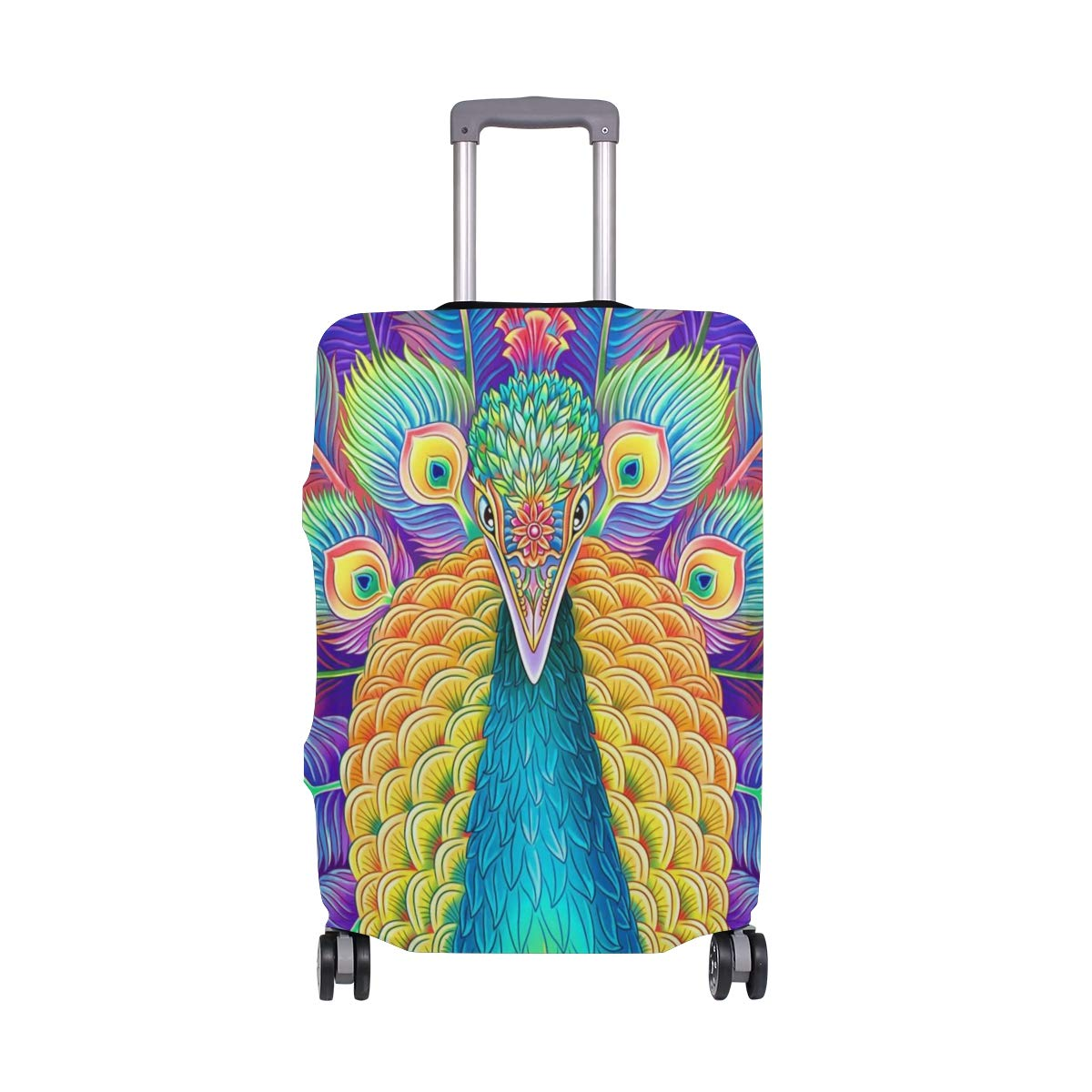 Peafowl Bird Travel Luggage Cover Suitcase Protector Fits 26-28 Inch Washable Baggage Covers