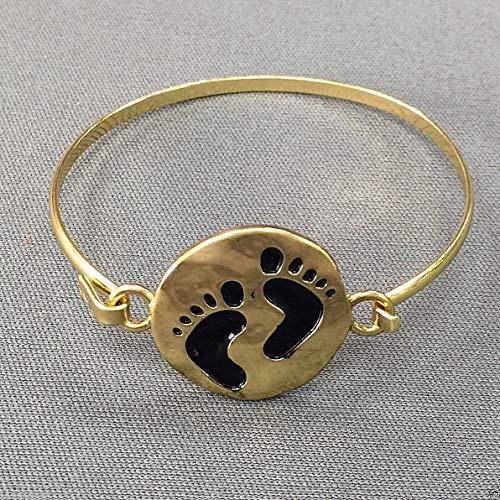 Antique Gold Hammered Footprints Design Charm Bangle Bracelet -