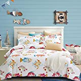 Fishes Duvet Cover Set, 100% Cotton Bedding, Tropical Ocean Coastal Fishes Pattern Printed on White, with Zipper Closure (3pcs, Queen Size)