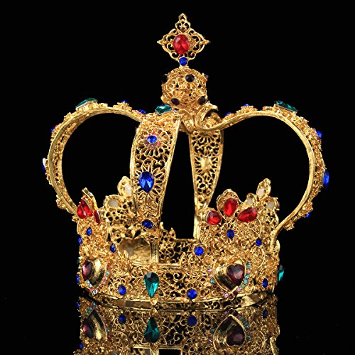 FUMUD Height 5.5'' Luxury Vintage Gold Wedding Crown Alloy Bridal Tiara Baroque Queen King Crown (1#) (Multicolor) ()