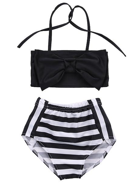 Amazon.com: Bañador para bebé, niñas a rayas, traje de baño ...