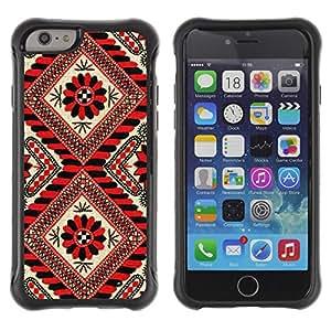 Híbridos estuche rígido plástico de protección con soporte para el Apple iPhone 6 (4.7) - pattern lines red black floral white