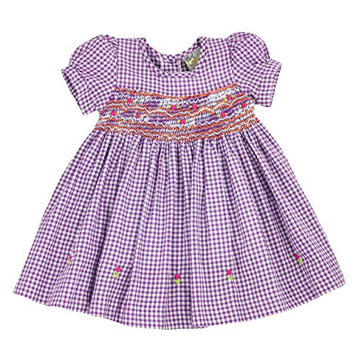 (sissymini - Infant and Toddlers Hand Smocked Dress | Priscilla Perkin's Plaid in Purple 4T)