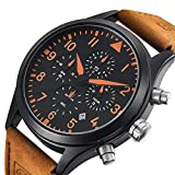 Men's Business Quartz Chronograph 30M Waterproof Analog Watches Sport Leather Band Strap Wrist Watch