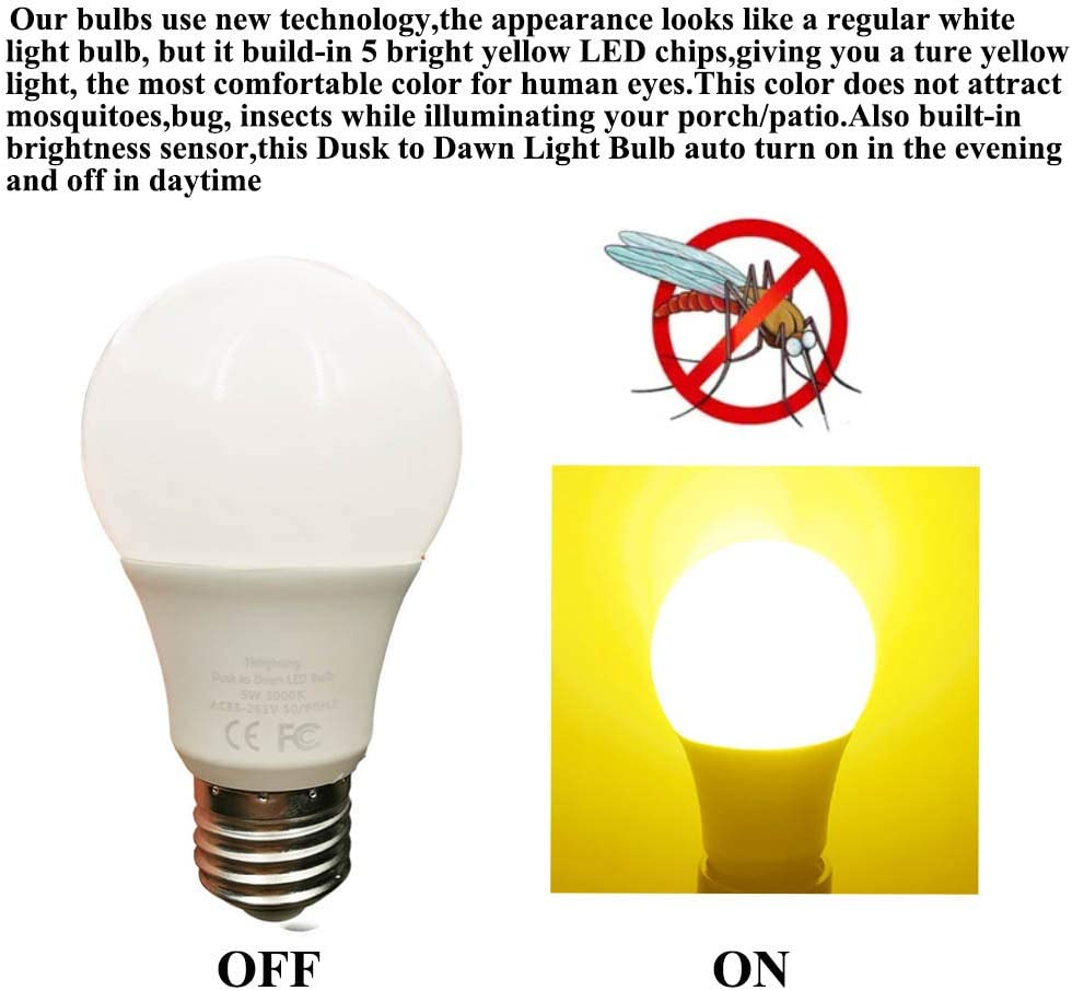 Amber Yellow Led Bug Light Bulb Dusk To Dawn 5w Led Light Bulb 40 Watt Equivalent Light Sensor Bulb Sensor Light Security Bulb With Photosensor Detection E26 2 Pack 5w Amber Yellow