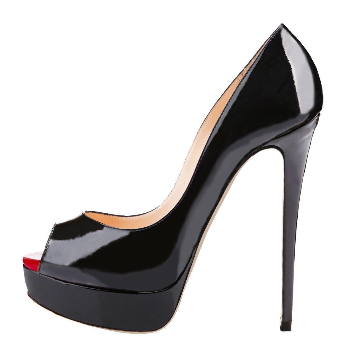 UBeauty Damen Pumps Stilettos High Heels Peep mit Toe Glitzer Übergröße Sandalens mit Peep Plateau Schwarz 6ff289