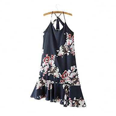 women sexy V neck spaghetti strap floral dress ruffles split sleeveless backless casual brand dresses Vestidos