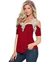 DondPO Womens Short Sleeve T-Shirt Summer Lace Tops Casual Blouse Off Shoulder Clothes