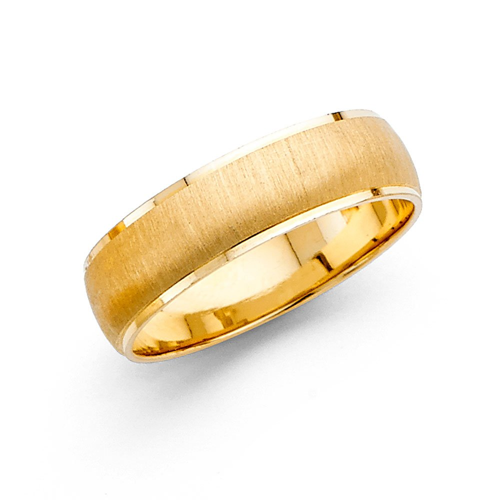 Wedding Band Solid 14k Yellow Gold Ring Dome Style Satin Brushed Finish Polished Style 6 mm Size 12.5 by ZenJewels