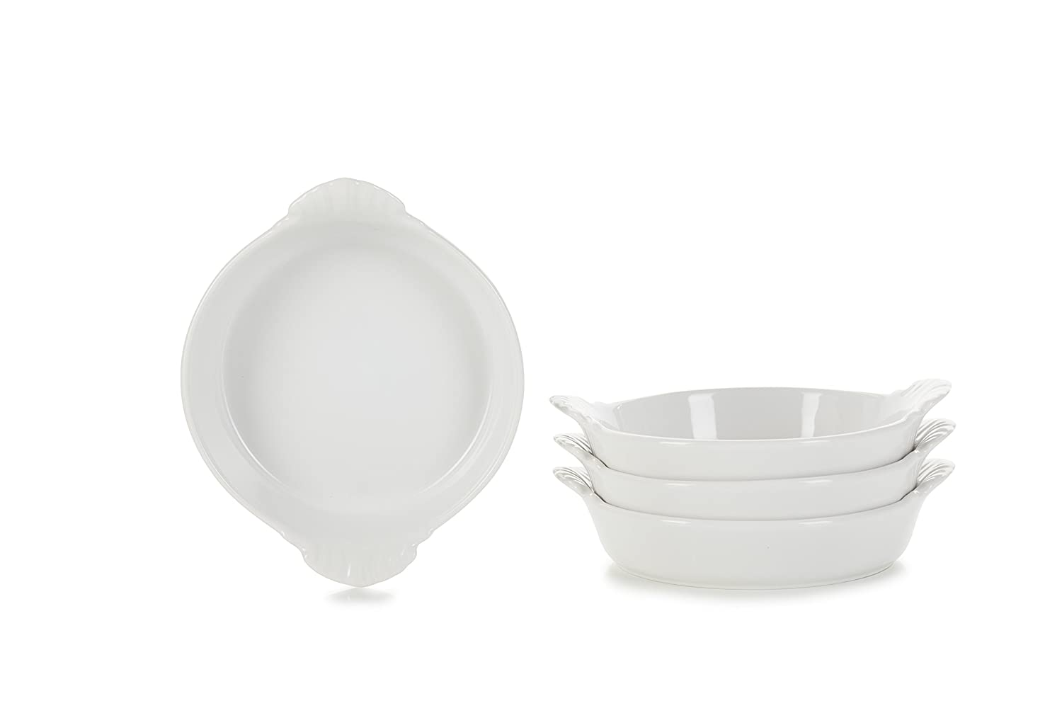 REVOL 651949/4 RPO1015N Set of 4 Round Eared Dishes, 6' x 1.5', Cast Iron Style 6 x 1.5