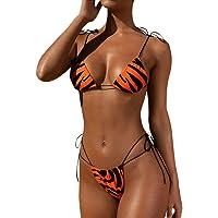 riou Bikinis Mujer 2020 Push up Bikini de Tres Puntos con Estampado de Cebra y Tira Mujeres Conjunto de Traje de BañO…