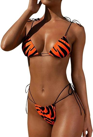 riou Bikinis Mujer 2020 Push up Bikini de Tres Puntos con Estampado de Cebra y Tira Mujeres Conjunto de Traje de BañO Brasileños Bañador Ropa de Dos Piezas vikinis: Amazon.es: Ropa y