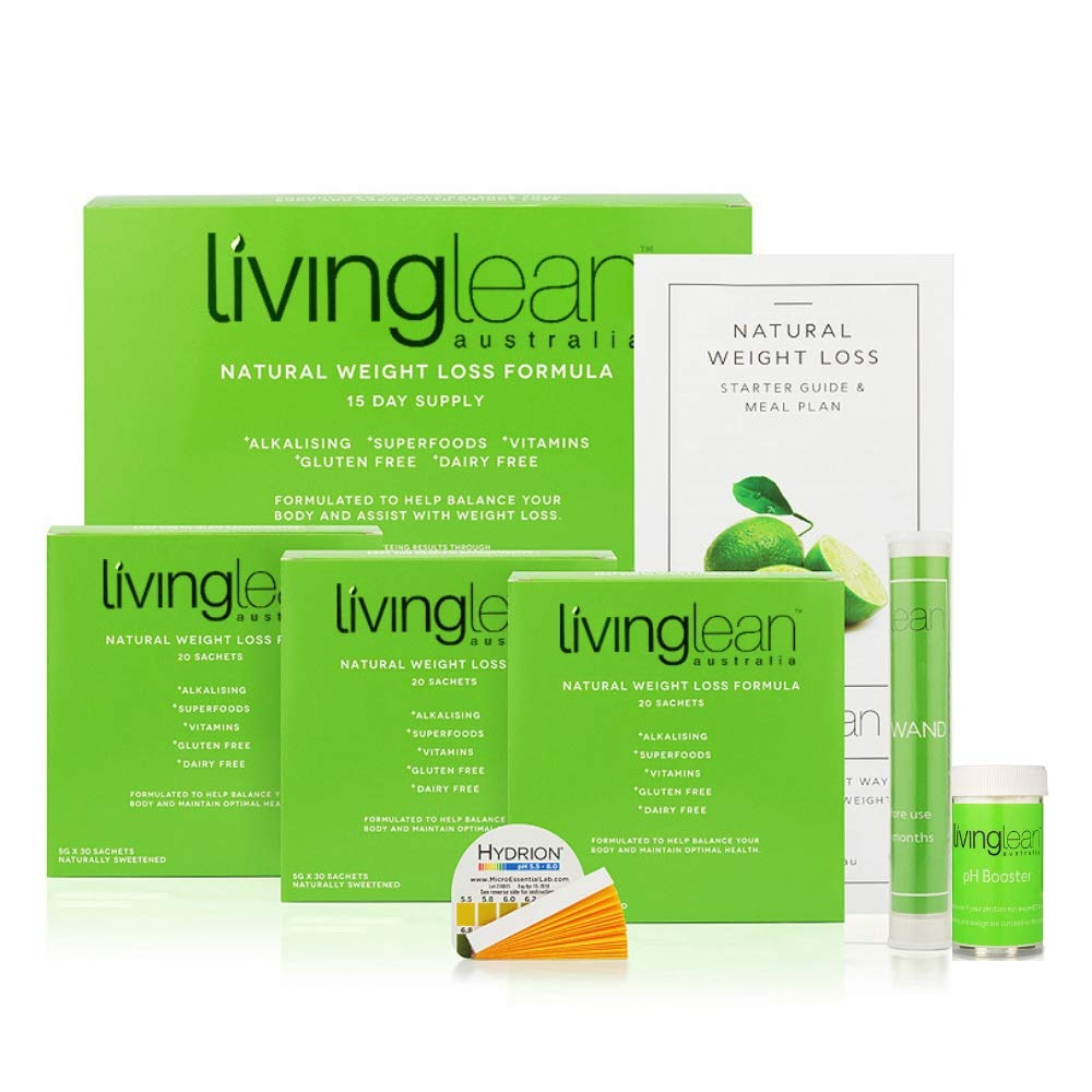 Living Lean Detox Cleanse Weight Loss Kit for 15 Days - Natural Organic - Alkaline Your Body for Sustainable Weight Loss & Digestion Support-Colon, Kidney, Liver & Bowel Cleanser - High Strength