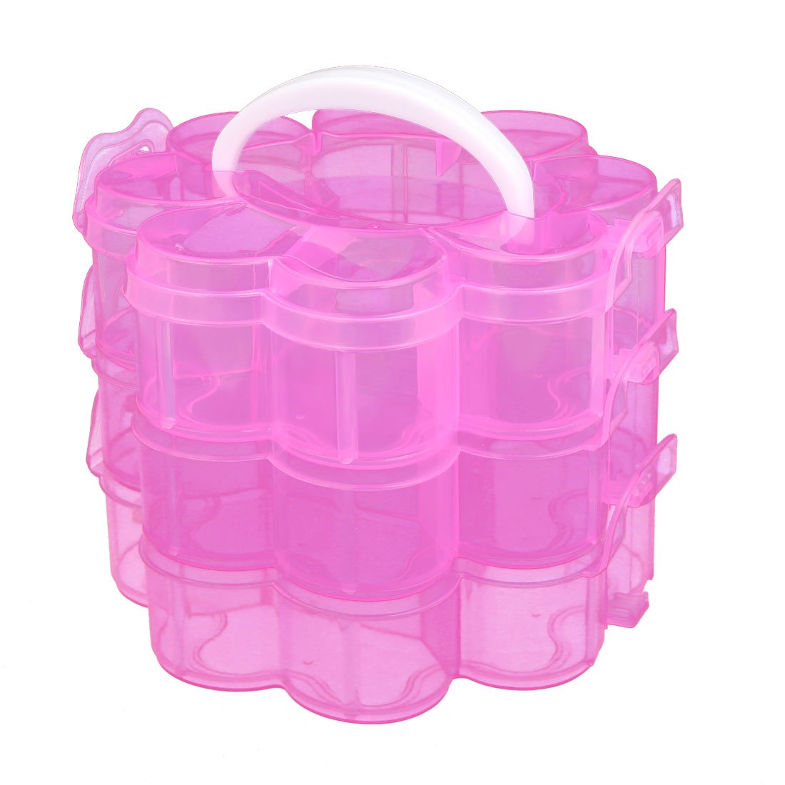 uxcell Jewelry 3-Layers Plum Blossom Shaped Container Storage Case Clear Pink