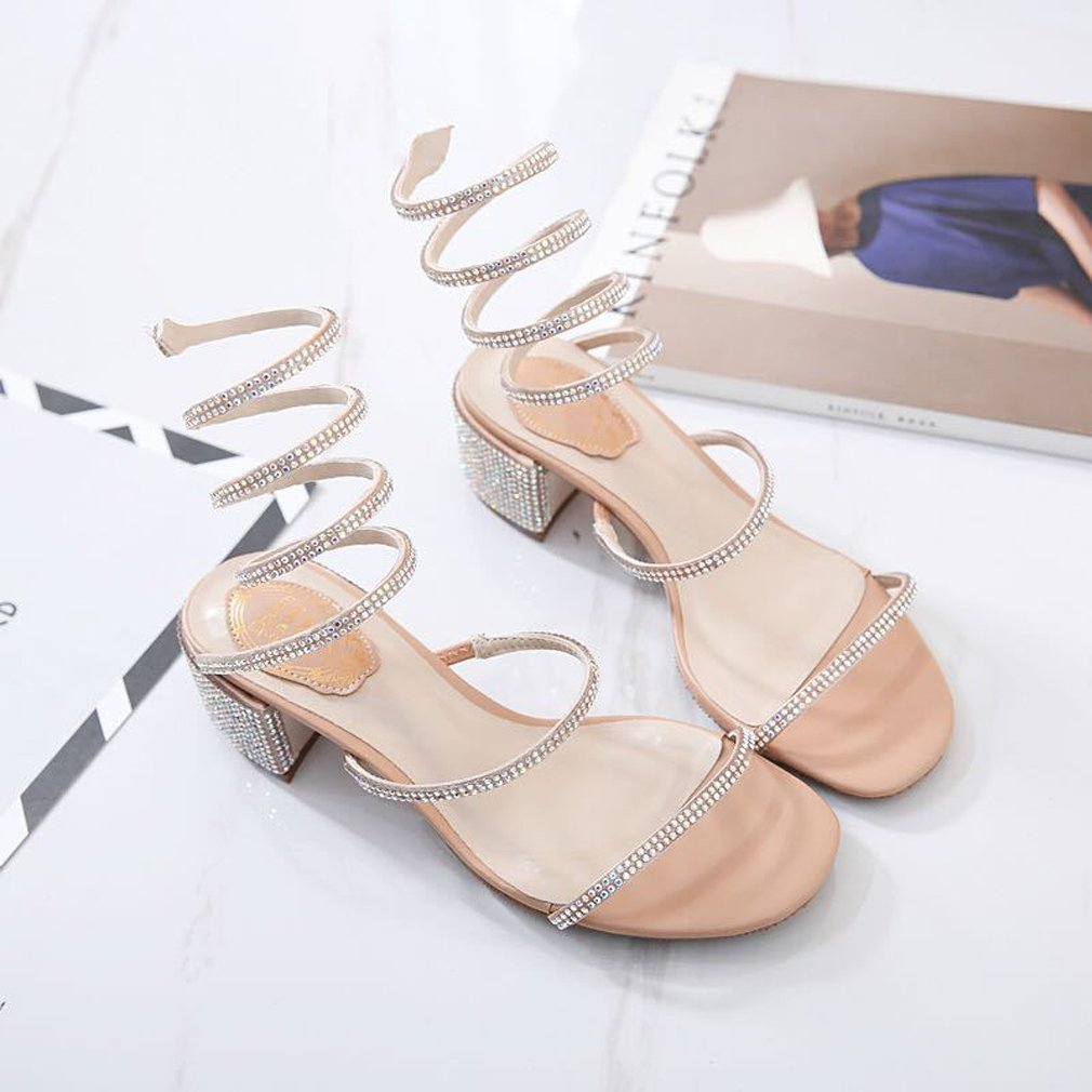 9d30bbbf3dc7f Royou Yiuoer Dress Sandals Women Comfortable Low Heel Shiny Crystal  Rhinestone Gladiator Wrap Ankle Slip on Shoes Nude 8.5 B(M) US  Amazon.ca   Shoes   ...