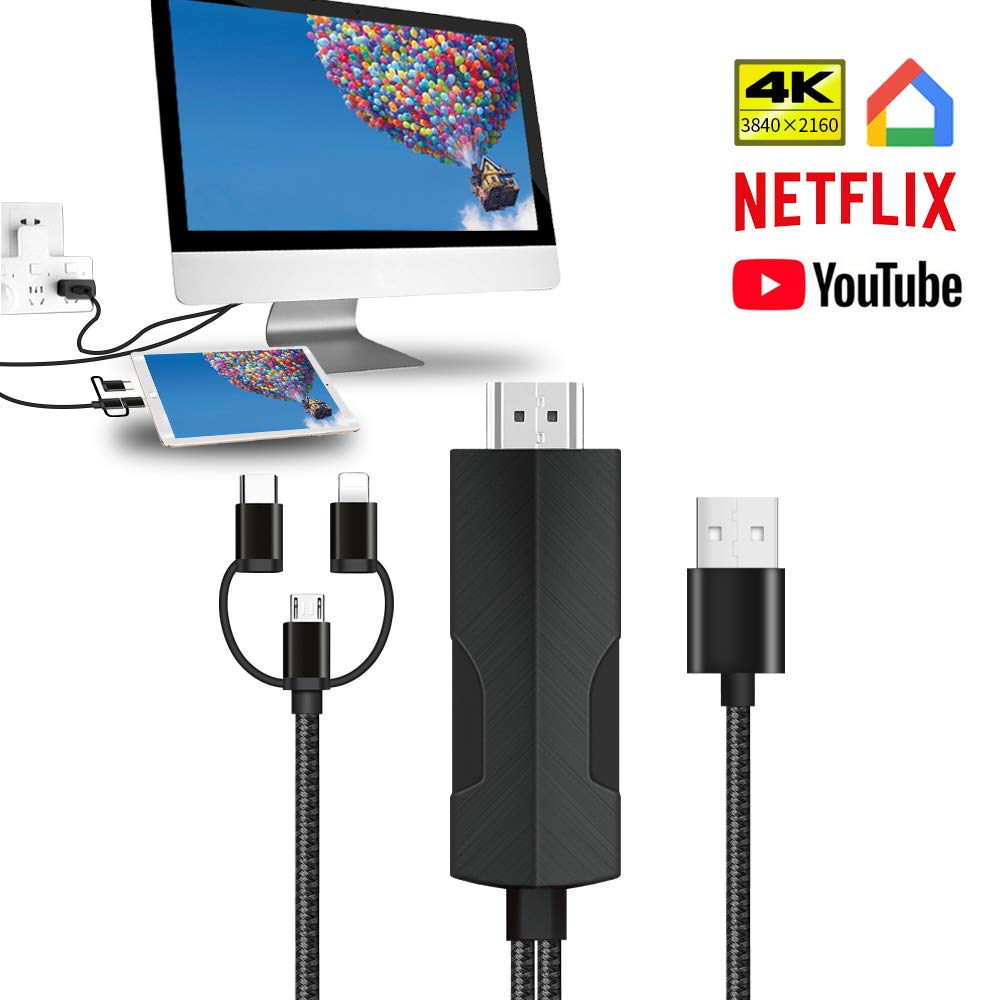 YEHUA Adaptador USB C Phone a HDMI,3 en 1 cable de Lighting HDMI ...