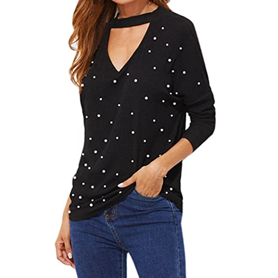 Blusas Mujer Grandes, BBestseller Camisetas Mujer Camiseta de Manga Larga con Cuello de Pico de