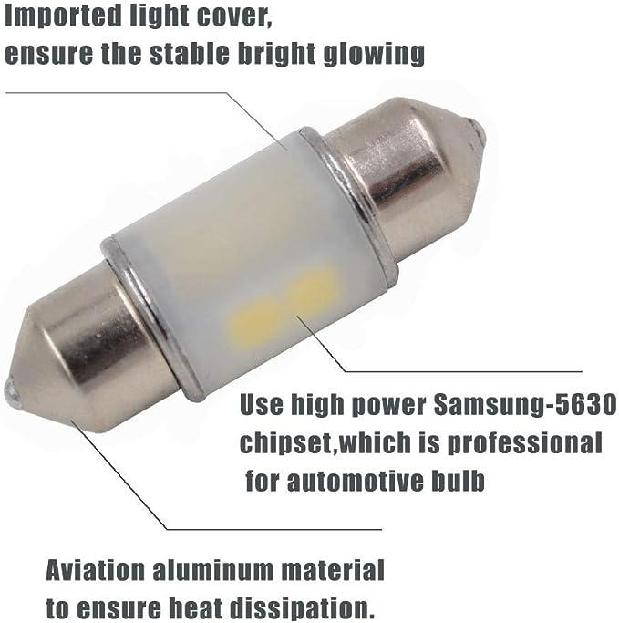 LED Blue Dome Festoon Map light Fit for DE3175 DE3021 DE3022 3175 Canbus Error Free 12V 24V with SAMSUNG-5630 Chipset 31mm Pack of 2 1.25