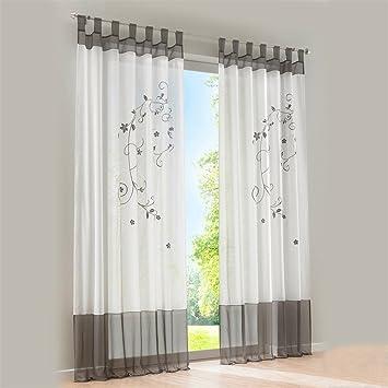 Grau Stickerei Gardine Vorhang Schlaufenschal Deko Fuer Wohnzimmer  Schlafzimmer Studierzimmer,140x145cm