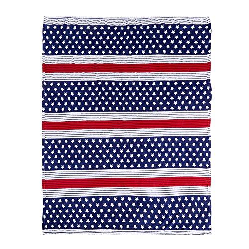 Morgan Throw - Morgan Home Liberty Stripes Patriotic Soft & Cozy Plush Throw Blanket, 50-inch X 60-inch