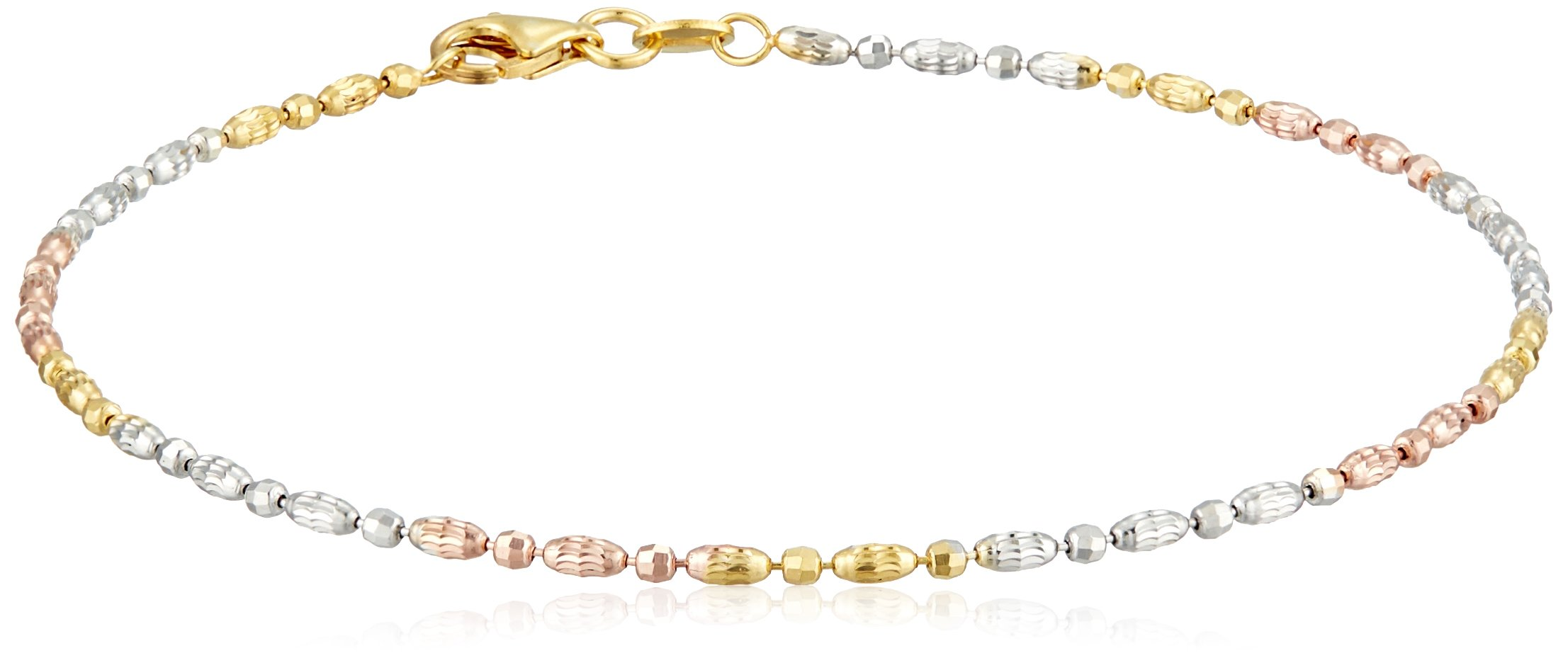 Sterling Silver Italian Tri-Color Diamond Cut Oval and Round Beads Mezzaluna Chain Anklet, 10''