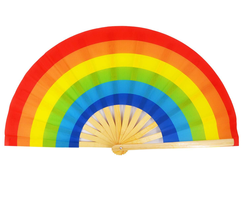 Amajiji Large Folding Fan, Chinease/Japanese Bamboo and Nylon-Cloth Folding Hand Fan, Hand Folding Fans for Women/Men, Hand Fan Festival Fan Gift Fan Craft Fan Folding Fan Dance Fan (Rainbow)