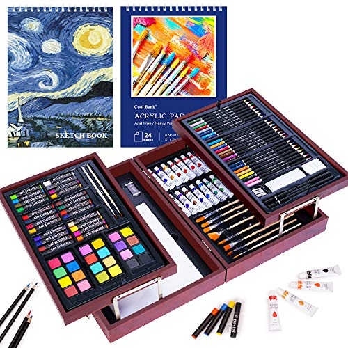126 Piece Art Set with 2 Drawing Pad, Art Set in Portable Wooden Case, Crayons, Oil Pastels, Colored Pencils, Acrylic…