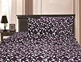 MATTREST ® 1500 Thread Count Egyptian Quality Super Soft Wrinkle Resistant & Fade Resistant Beautiful Leaf Design 3-Piece Duvet Cover Set, King/California King Purple