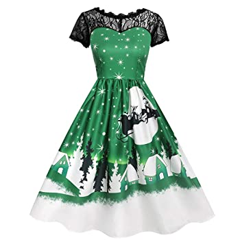 Clearance!Women Christmas Elk Printed Lace Splicing Vintage Lace Short Sleeve Evening Party Prom Swing Dress