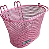 Basket with hooks PINK, Front , Removable, wire mesh SMALL Bicycle basket , PINK--
