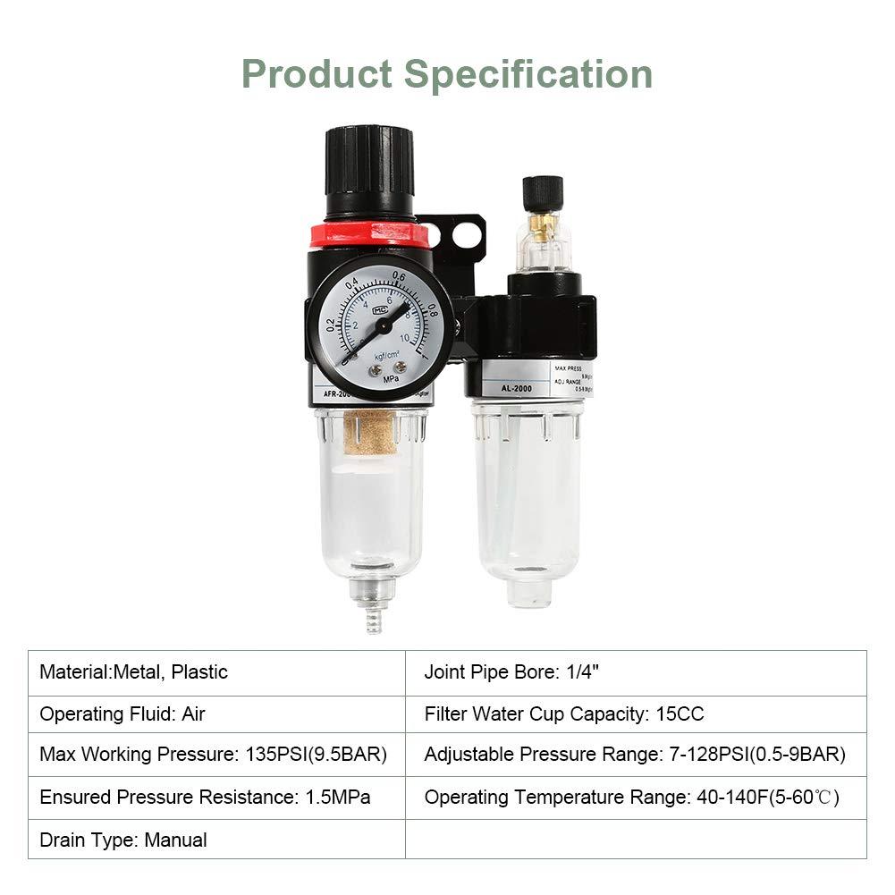Keenso 1//4 Compressor Air Filter Air Pressure Regulator Water-oil Separator Trap Air Compressor Filter Airbrush Compressor Filter with Lubricator Cup for Air Tools System