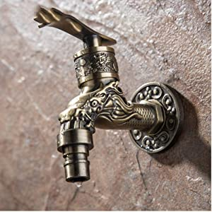 Tap Carved Wall Mount Zinc Alloy Antique Bronze Bibcock,Decorative Outdoor Garden Faucet Washing Machine Faucet Small Tap