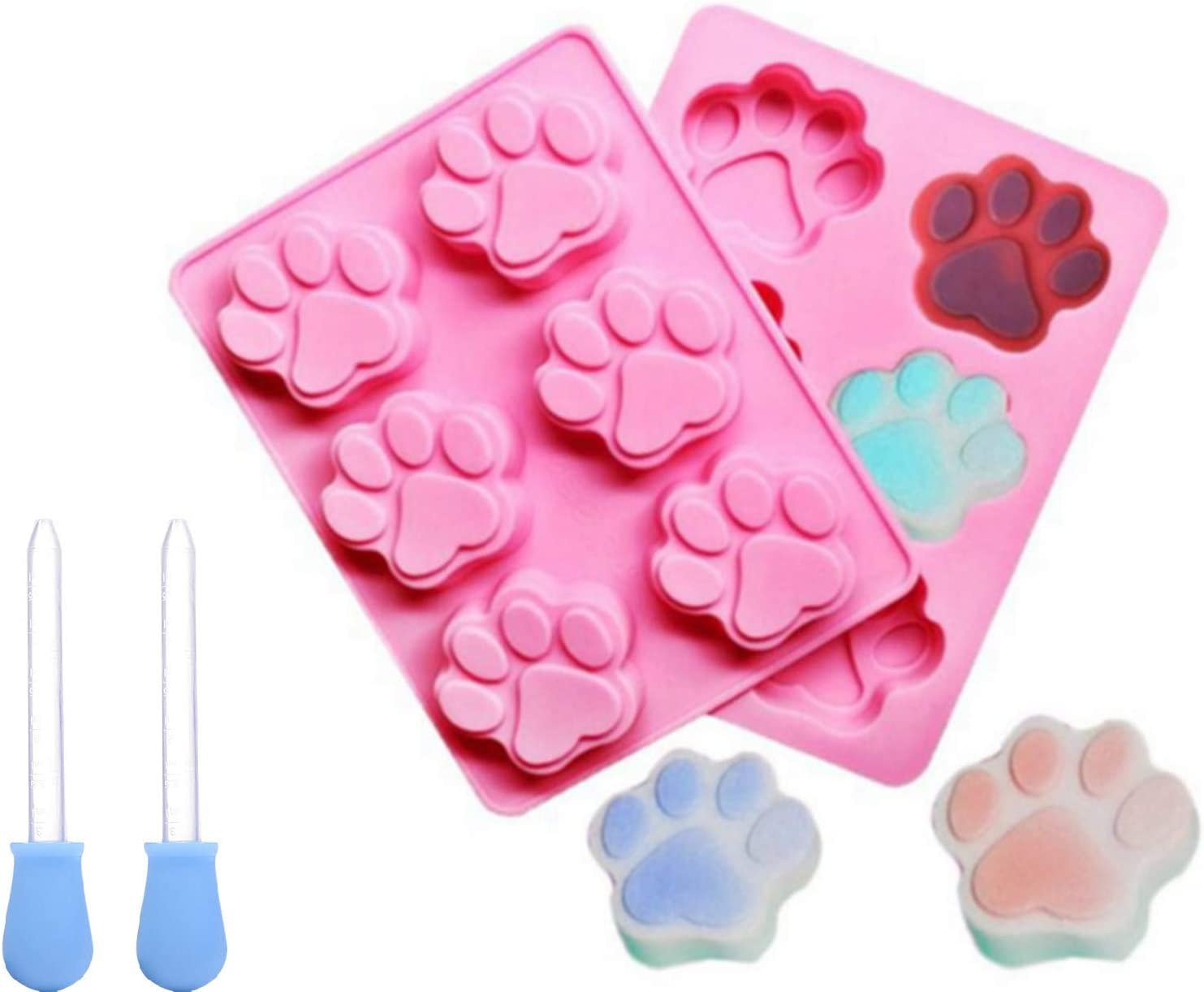 2Pcs Dog Paw Silicone Molds with Dropper, Non-Sticky Food-grade Silicone Molds for Epoxy Resin, Chocolate, Candy, Jelly, Ice Cube and Soap