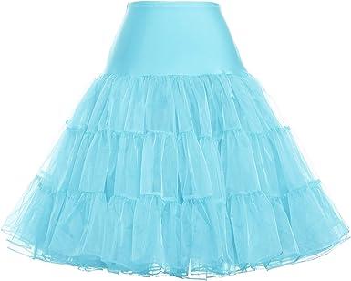 GRACE KARIN Enagua Azul Claro para Mujer 50 s tutú Mini Falda ...