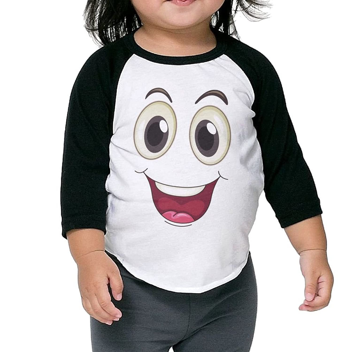 CHENLY Unisex Kid's Sleeves Warm Big Emoji Smile Cotton 3/4 Sleeves T-Shirt For Child for sale