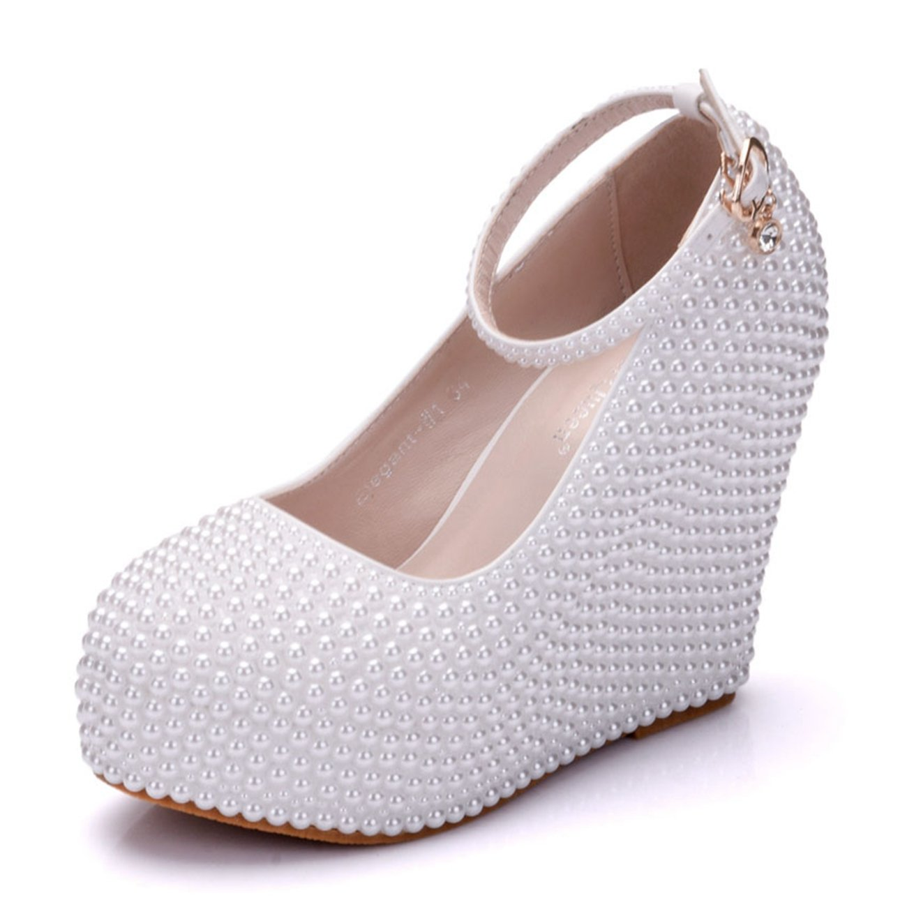 Minishion Womens Hidden High Platform Pearl Beading Wedge Heel Wedding Evening Shoes B07552XT4Y 5.5 B(M) US|White-10cm Heel