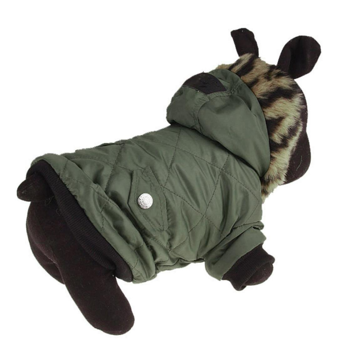 Howstar Pet Outfit, Classic Dog Coat Hoodie Jacket Warm Puppy Clothes (XS, Green)