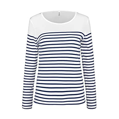aa0f212946367 KARIBAN - Marinière - t-shirt manches longues- K386 - Femme: Amazon.fr:  Vêtements et accessoires