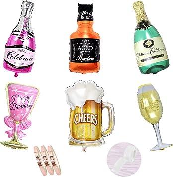 Juego de decoración de botellas de champán con globos de papel de aluminio, botella de vino