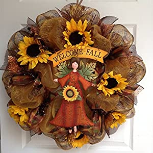 Welcome Fall Angel Harvest Wreath Handmade Deco Mesh 52