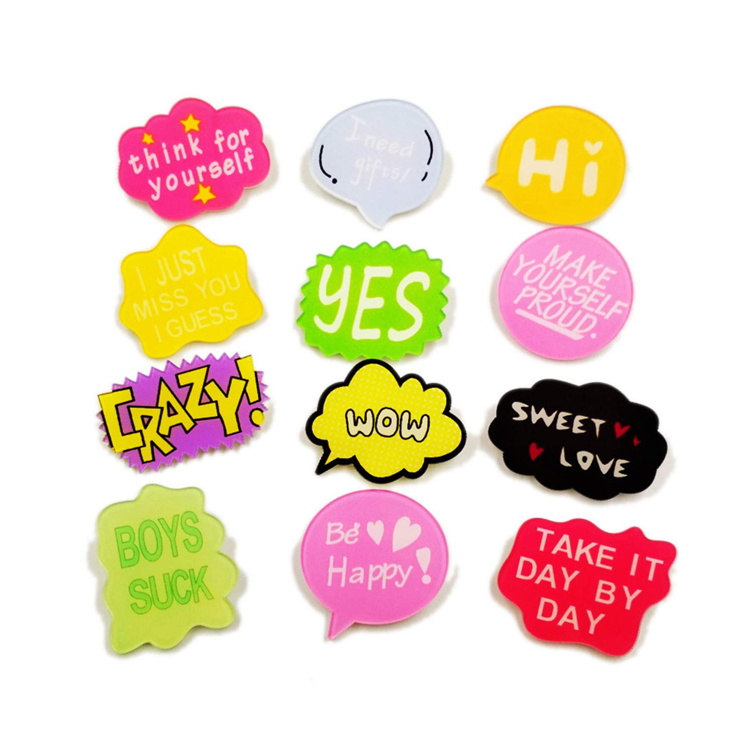 HUILAIKE Funny Brooch Pin Set Cute Cartoon Lapel Pins Badge for Teen Girls Patch Backpack Jean Clothes Decoration