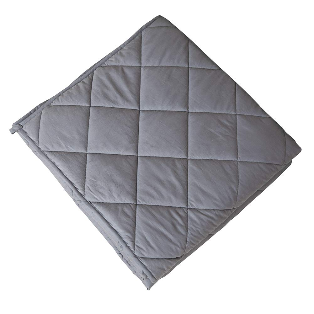 Weighted Blanket for Adults & Kids 60''x 80'' 15 lbs 100% Soft Cotton, Gravity Blanket for Deep Restful Sleep, Great Therapy for Stress, Anxiety, Insomnia and ADHD, Fit Twin/Queen Bed Grey